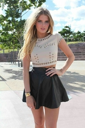 blouse,skirt,top,t-shirt,cream,studs,crop tops,pinterest,beige,dressy style,shirt
