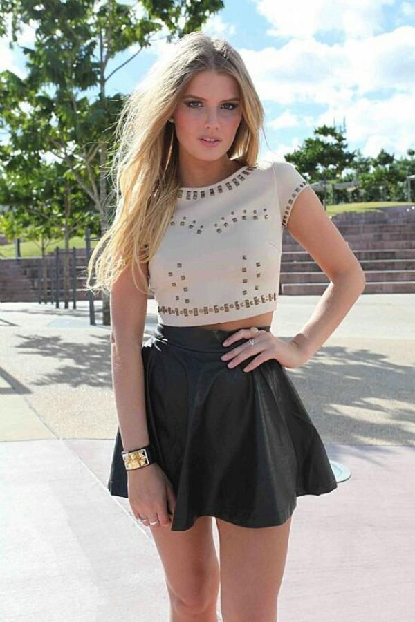 blouse skirt top t-shirt cream studs crop tops pinterest beige dressy style shirt