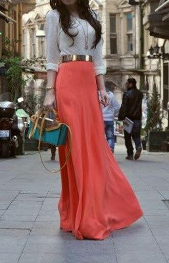 skirt peach dress coral skirt peach skirt belt metallic belt