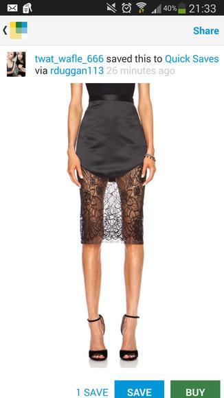 black skirt black satin black satin skirt lace skirt