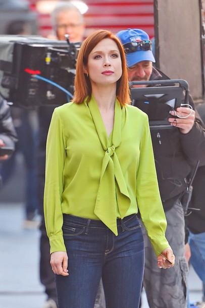 blouse, ellie kemper, jeans