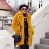 coat,tumblr,fur jacket,yellow,yellow coat,fur coat,oversized,oversized coat,hat,beret,bag,black bag,sunglasses,round sunglasses