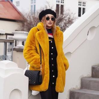coat tumblr fur jacket yellow yellow coat fur coat oversized oversized coat hat beret bag black bag sunglasses round sunglasses