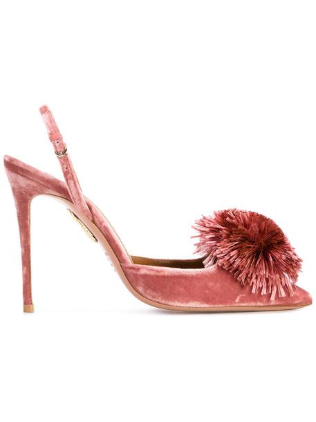 women heels leather velvet purple pink shoes