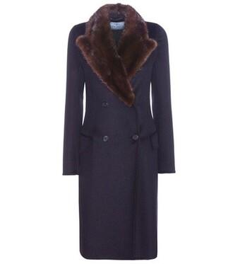 coat fur wool blue