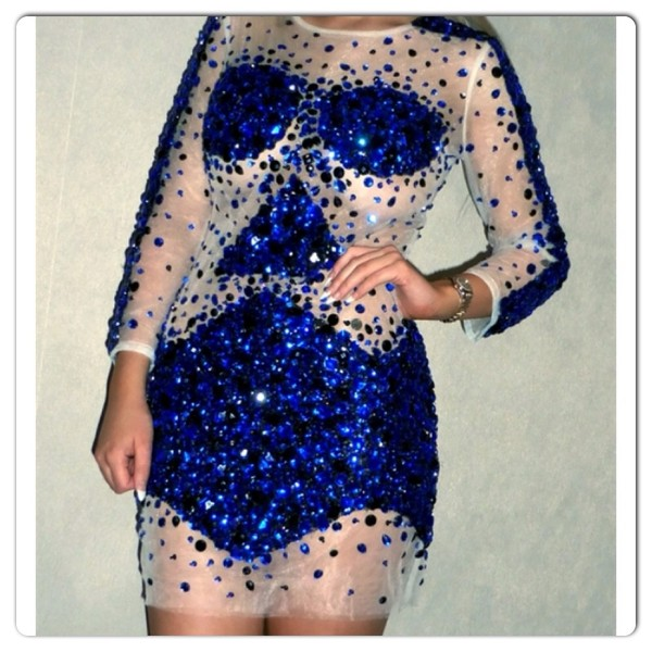 dress blue crystal nude dress blue crystal dress