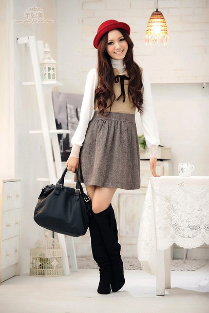 dress japanese fashion cute dress nice bag lovely hair