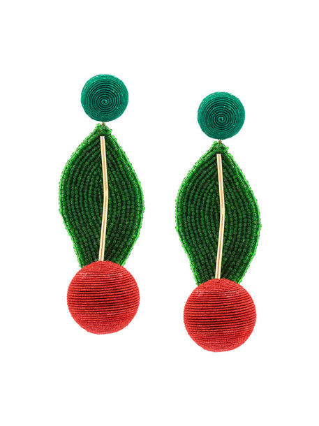 Rebecca De Ravenel women geometric earrings gold silk green jewels