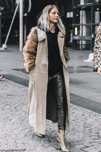 coat tumblr fashion week 2017 streetstyle camel long coat long coat camel camel coat hoodie black hoodie pants printed pants boots ankle boots high heels boots metallic metallic shoes gold boots winter outfits ombre hair