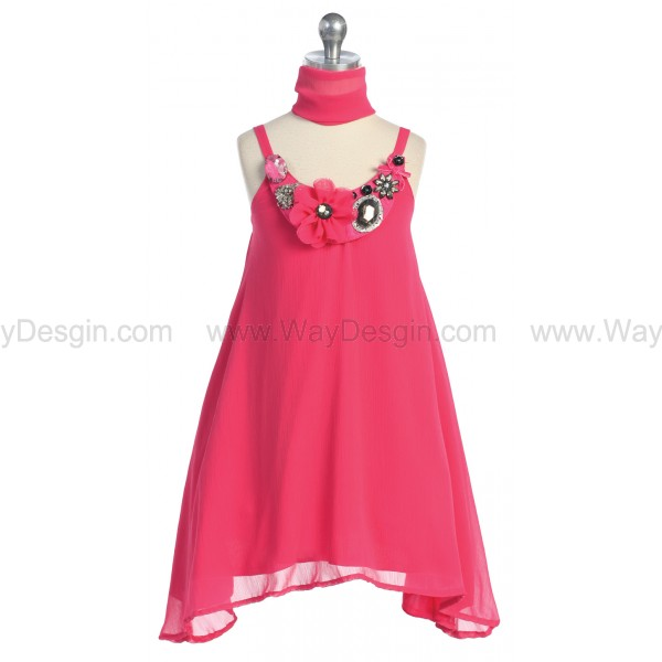 Fuchsia Neck Stone Trim Chiffon Sun Dress