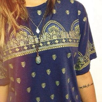 t-shirt clothes shirt printed indie vintage blue bandana grunge softgrunge pinterest alternative tumblr found on pinterest] indian gold gold print cool cardigan