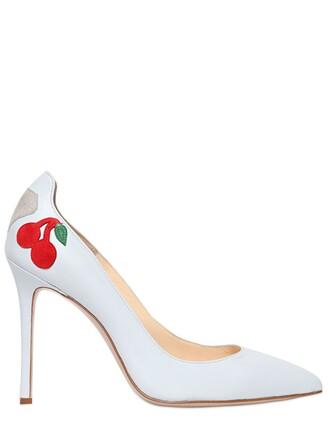 cherry pumps leather light blue light blue shoes