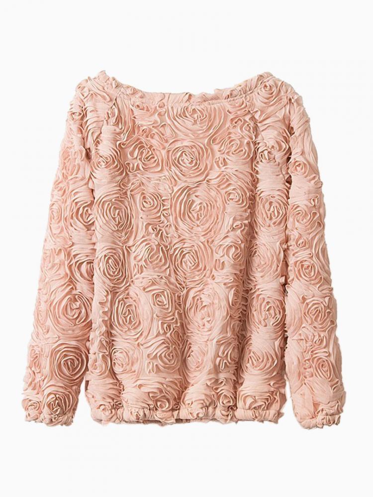 Pink 3D Rose Blouse   Choies
