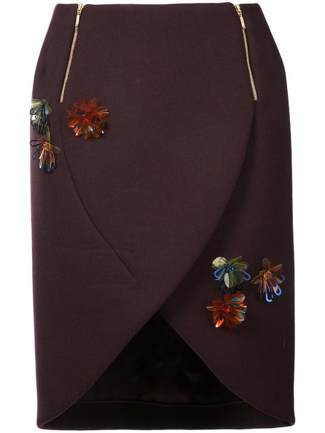 DELPOZO skirt embroidered women floral wool purple pink