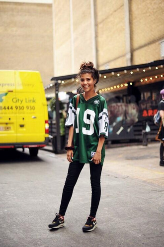 shirt green t-shirt number sweet pretty city streetstyle boyfriend tshirt trikot collage jersey city outfits top jets blouse swag dope streetwear asain white nike urban shoes