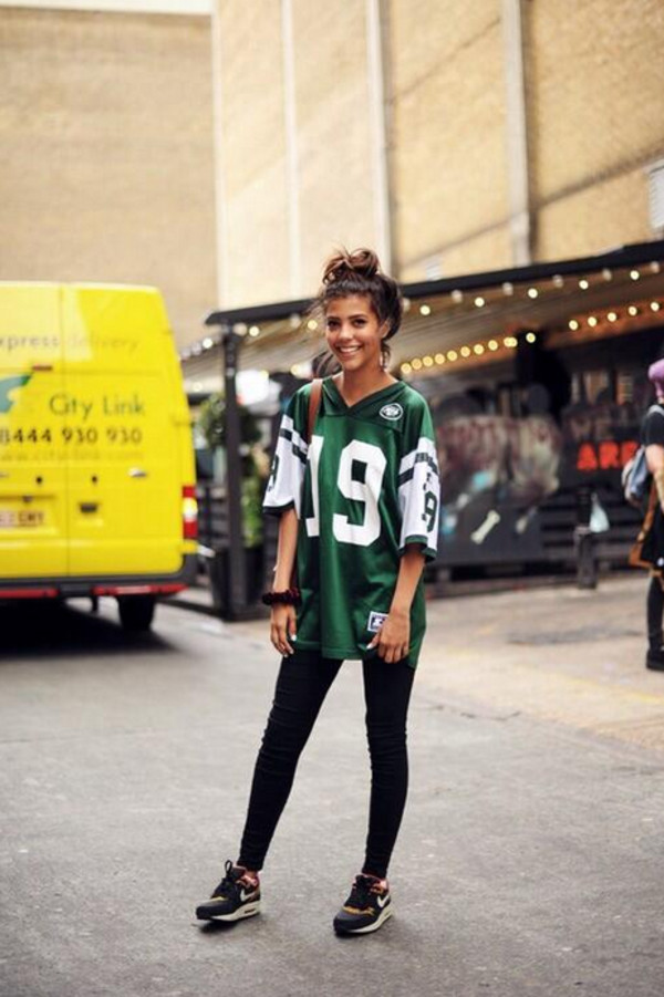 shirt green t-shirt number sweet pretty city streetstyle boyfriend tshirt trikot collage jersey city outfits top jets