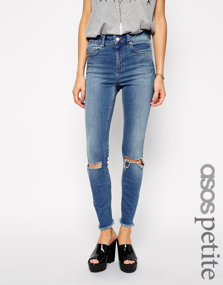ASOS PETITE Whitby Low Rise Skinny Jeans in Gothenburg with Rips and Raw Hems at asos.com