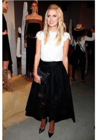 skirt midi skirt blouse nicky hilton fashion week black and white pumps top