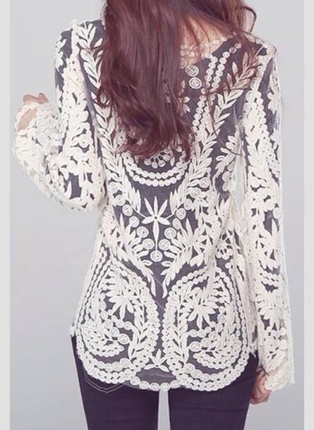 shirt white lace lace shirt lace white shirt vintage