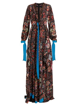 gown silk print black dress