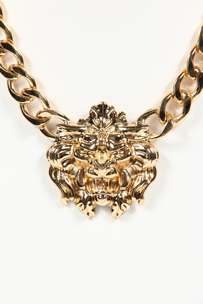 King of Lion Head Necklace - Gold