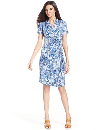 Karen Kane Short-Sleeve Paisley-Print Faux-Wrap Dress - Dresses - Women - Macy's
