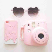 sunglasses,jewels,photography,phone cover,polaroid camera,iphone 5 case,white,rose,home accessory,camera,pastel phone case,pastel,grunge,kawaii grunge,melting iphone case,make-up,hand cream,panda