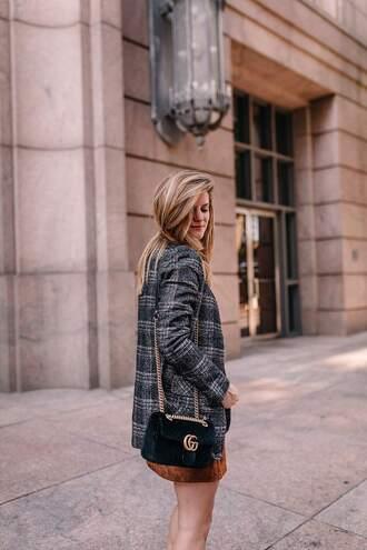 jacket blazer check blazer plaid plaid blazer grey blazer bag black bag chain bag