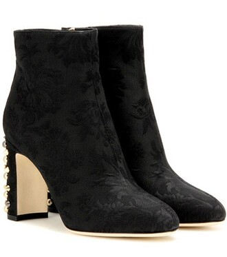 jacquard embellished boots ankle boots black shoes