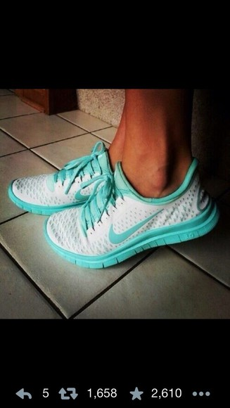 shoes nike white and teal turquoise nike free run nike roshe run running shoes cuteshoes iwantit