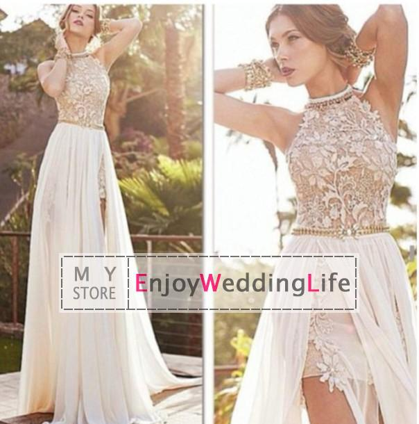 Discount 2014 sexy new halter lace chiffon prom dresses beaded crystals applique floor length evening gowns online with $136.34/piece
