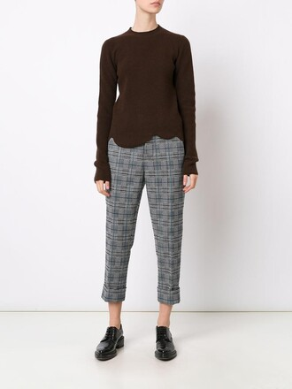 jumper women spandex scalloped wool brown sweater