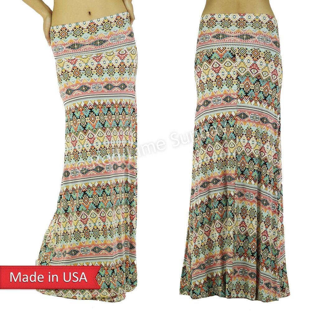 Women cute pop color aztec tribal print soft rayon fold over long maxi skirt usa
