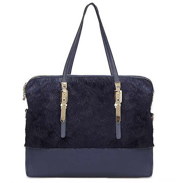Leather Tote With Horser Hair Front Panel