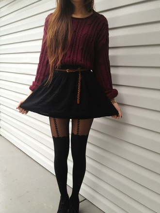 sweater burgundy cable knit jumper woven belt black suspender tights heart print black lace up boots