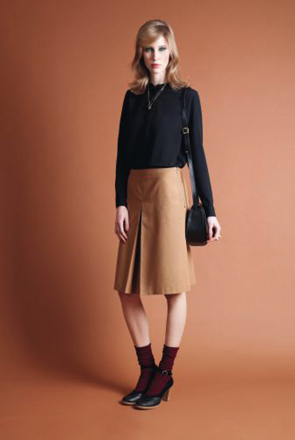 skirt apc fashion lookbook shirt bag shoes