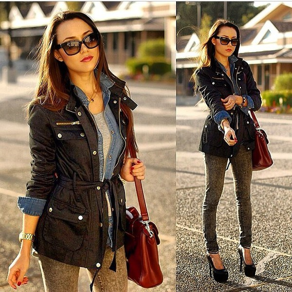 jacket bag jeans sunglasses