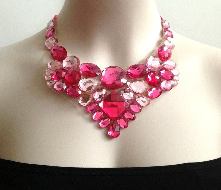 pink bib necklace - hot pink, fuchisa and light pink bib necklace, prom, bridesmaids rhinestone unique bib necklace