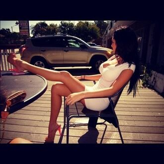 dress mini boobs long hair high heels stilettos mini dress open toed heels