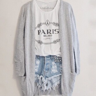 shorts sweater tank top cardigan blouse grey white soft hipster tumblr tumblr clothes paris distressed high waiseted shorts high waisted denim cotton tank france