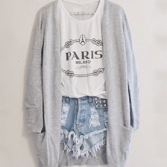 shorts white grey denim tumblr tumblr clothes blouse hipster grey, soft paris distressed high waiseted shorts high waisted cotton tank france sweater tank top