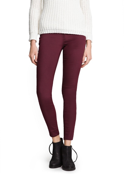 MANGO - NEW - Super slim-fit burgundy jeans