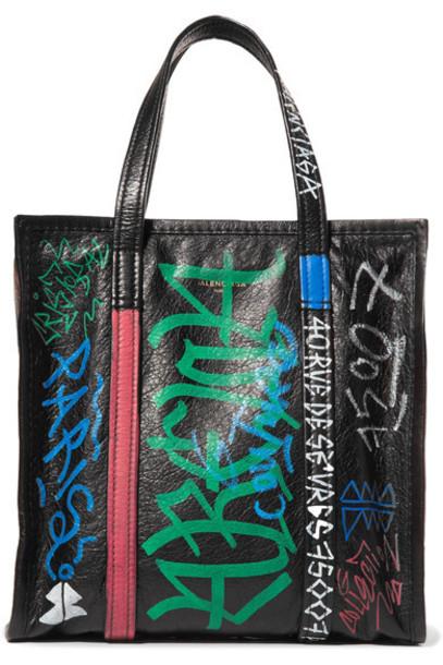 Balenciaga - Bazar Small Printed Textured-leather Tote - Black