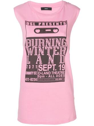 tank top top women cotton print purple pink