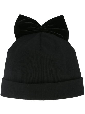 bow beanie velvet black hat