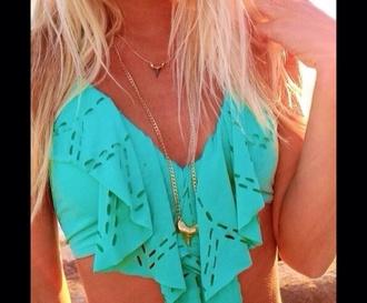 swimwear bikini top turqoise bikini top