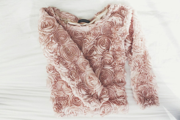 sweater rose lovely blouse pink shirt coral 3d flowers long sleeves floral rosepedalshirt dusty pink roses girly casual rose gold