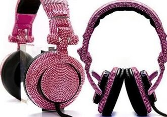 jewels headphones pink swarovski strass crystal quartz black