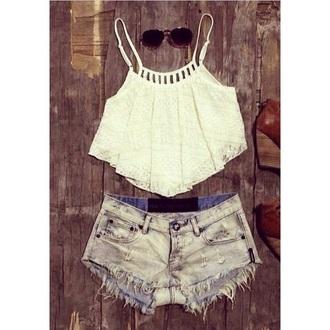 shirt crop tops white crop tops shorts denim shorts lace top fashion style