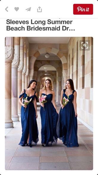 dress navy dress with straps navy dress bridesmaid long bridesmaid dress navy bridesmaid dress formal dress floor length dress chiffon a line dress